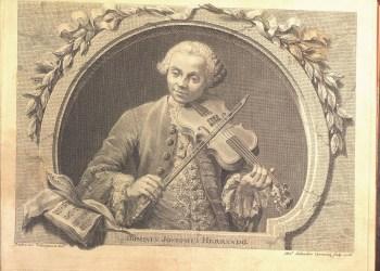 Retrato de José Herrando grabado por Manuel Salvador Carmona, (1734-1820), desde un dibujo de Luis Velázquez. 1757, Biblioteca Nacional de España, IH/4313.