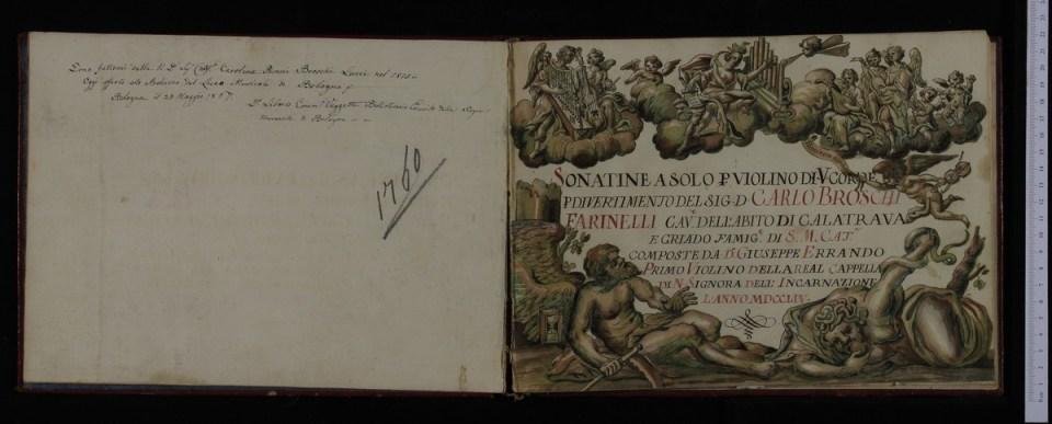 Sonatas dedicadas a Farinelli. Biblioteca Comunale de Bolonia.