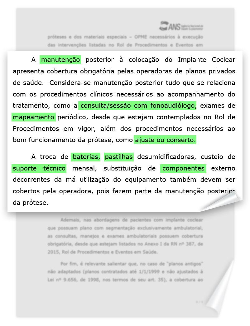 Manutenção de implante coclear por convênios e planos de saúde (ANS 2016)