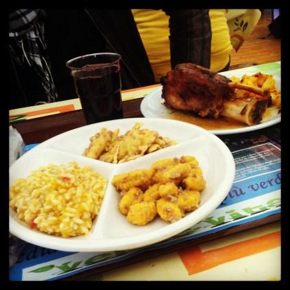 Tris con risotto, ravioli y gnochi de calabaza y Stinco