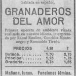 1934 Gran Cinema:opereta vienesa «Granaderos del amor»