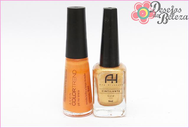 avon color trend pé na areia + ana hickmann gold esmaltes