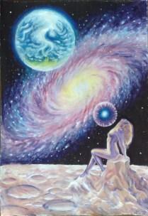 Eva cosmica si galaxia pictura tempera