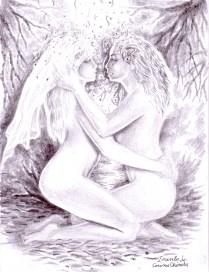Un desen in creion pe care l-am facut ponind de la un desen datand din anul 2004 cand mi-am imaginat ca sunt eu in bratele muzei lui Eminescu si m-am desenat pe mine in locul poetului