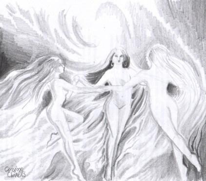 Dansul ielelor, desen in creion
