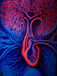 The tree of the heart and mind fluorescent painting - Arboerele ratiunii si al sentimentelor pictura fluorescenta