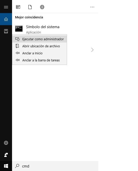 Teclea cmd en el buscador de Windows y haz clic derecho en Símbolo de sistema para Ejecutar como administrador