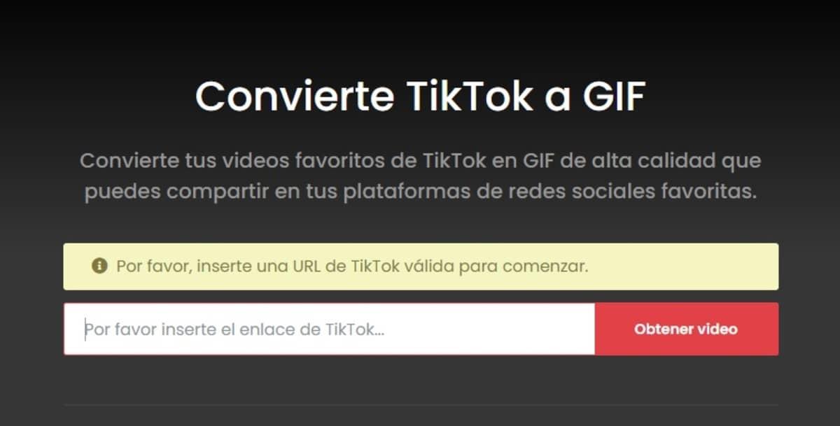 convertir vídeo TikTok en GIF