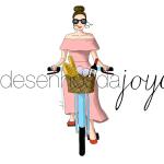 Mulher na Bicicleta de Frente com Cesta