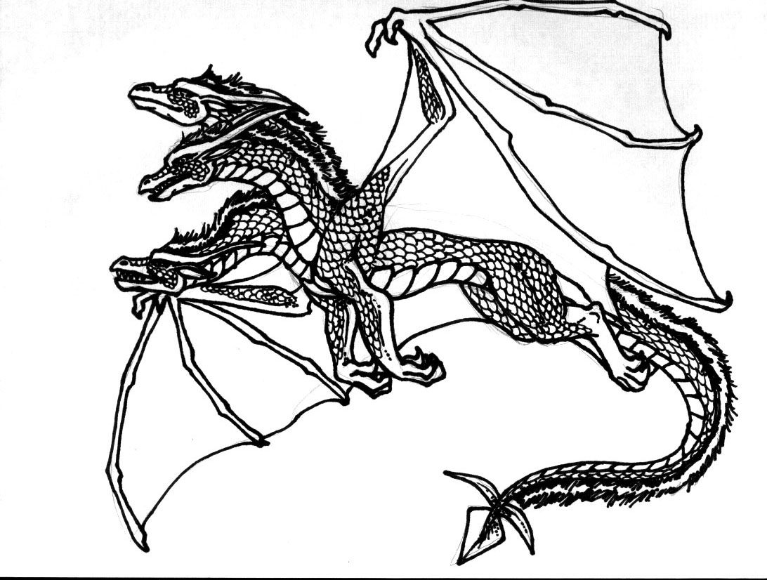 Three Headed Dragon With Spikes Coloring Page