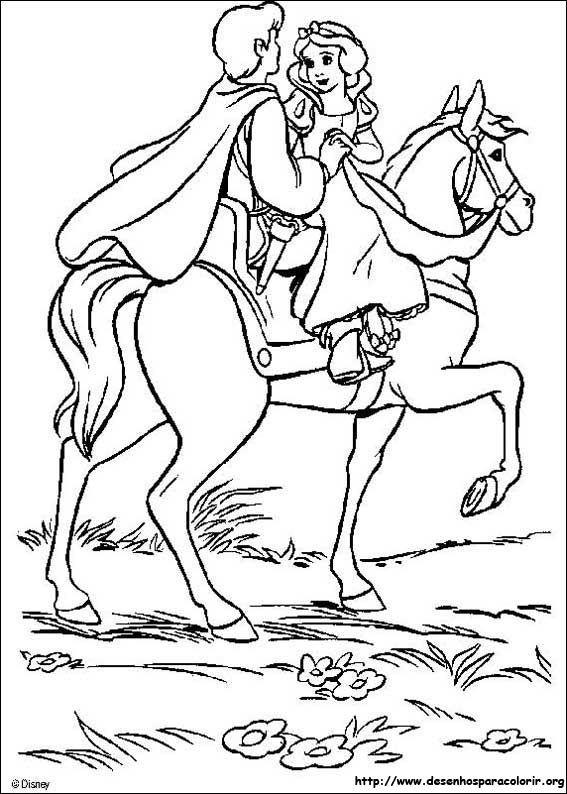 Branca de Neve no cavalo com seu príncipe