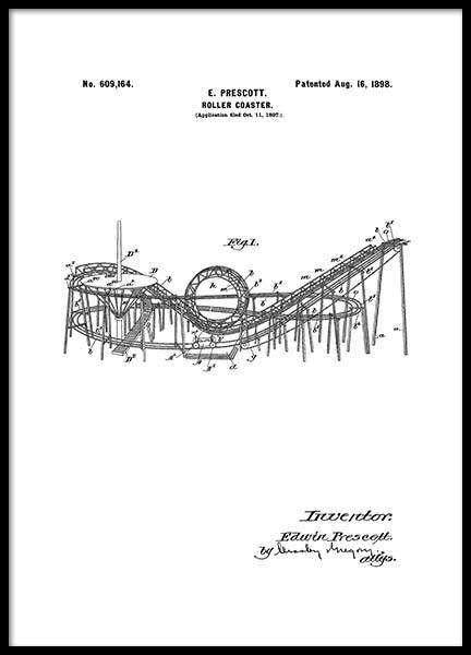 Roller Coaster Patent Poster