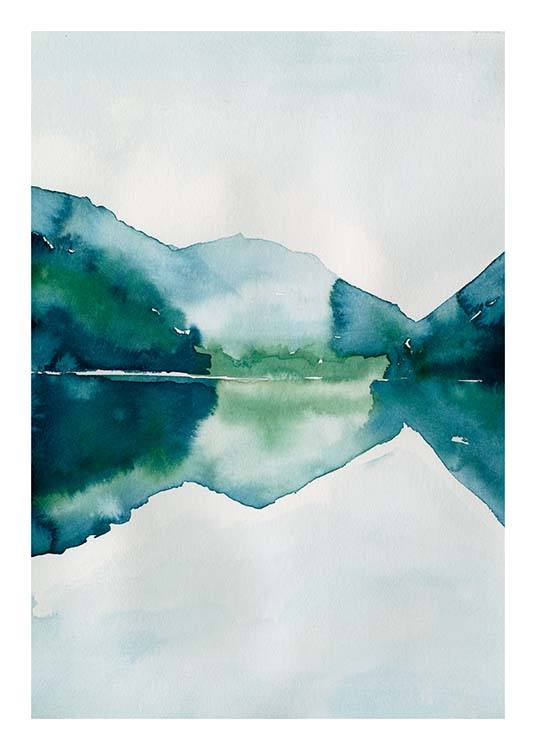 watercolor mountain reflection poster