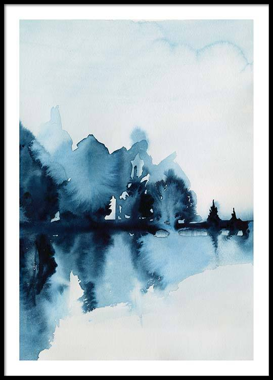 watercolor reflection poster
