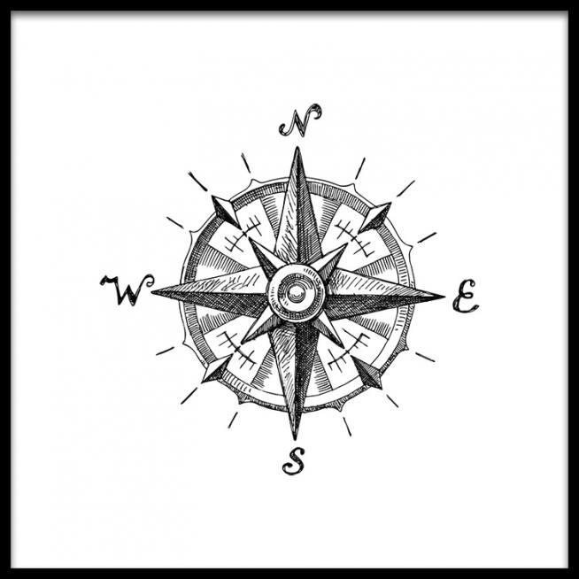 Compass B&W Poster