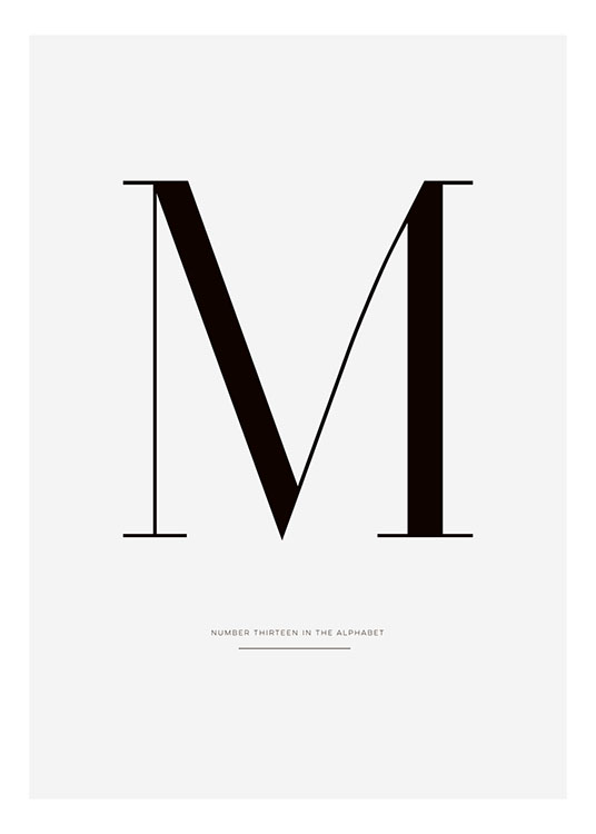 Black and white tyopgraphy print with letter M, posters online