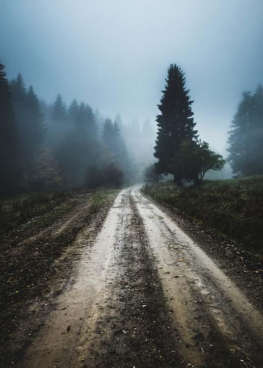 Free Country Fall Wallpaper Foggy Road Poster