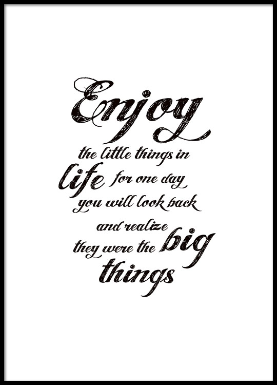 Typography poster, 'Enjoy the little things', posters