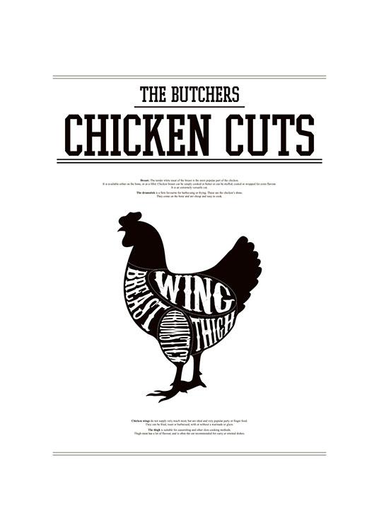 Kitchen art with different cuts of chicken, Chicken cuts