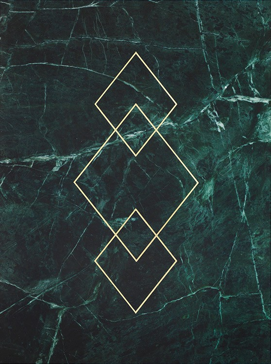 Gold poster with triangles on green marble
