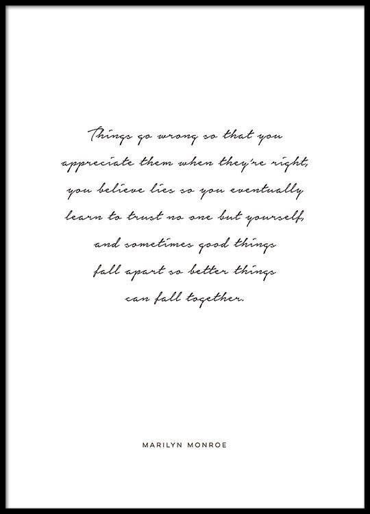 Schwarz Weise Typografie Poster Und Plakate Mit Handschrift Und Zitat Marilyn Mo