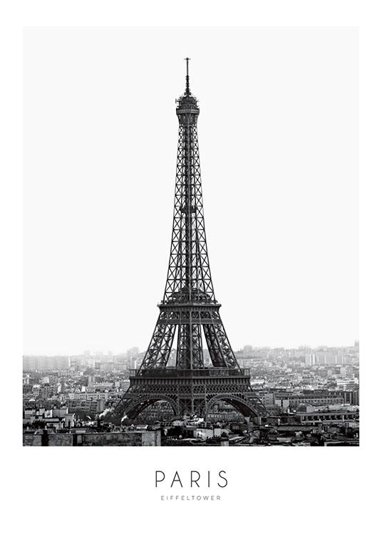 Poster En Noir Et Blanc De La Tour Eiffel Desenio Fr