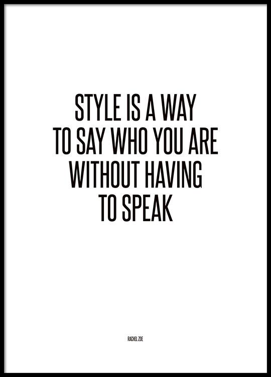 Poster met tekst, Fashion quote van Rachel Zoe op internet