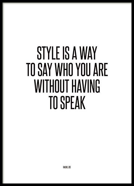 Poster med text, Fashion citat quote från Rachel Zoe på nätet