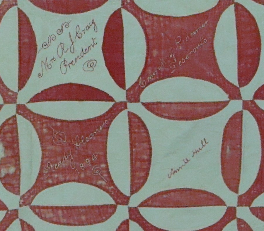 Detail of quilt made by the Steady Gleaners