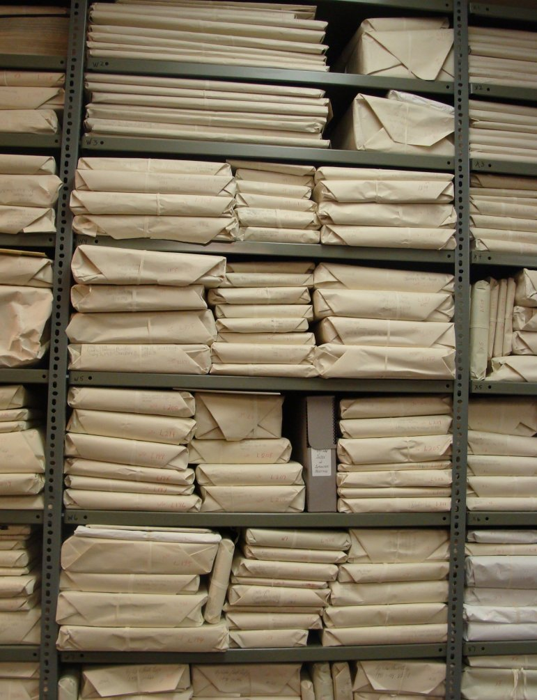 Wrapped volumes at Peterborough Museum and Archives