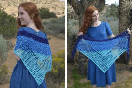 Wave shawl - fingering weight yarn crochet pattern