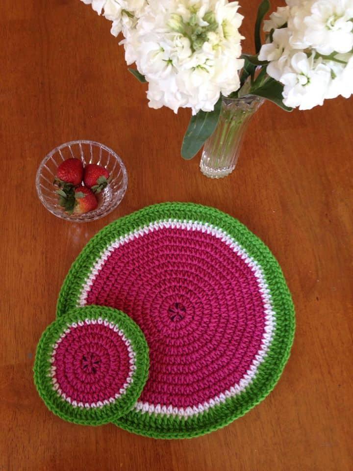 watermelon crochet decoration