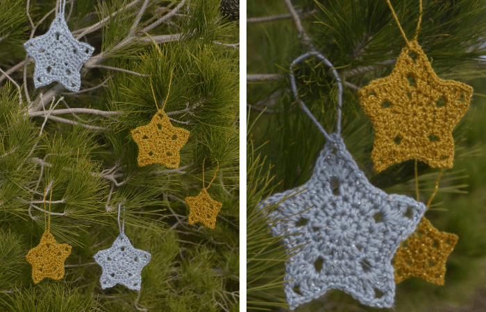 christmas star ornaments—free crochet pattern