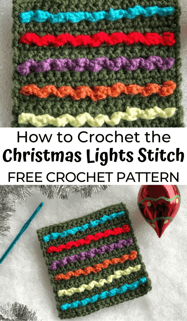 How to Crochet the Christmas Lights Stitch—a free crochet stitch pattern using the surface crochet technique!