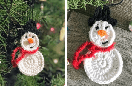 Snowman Ornament—Free Crochet Pattern