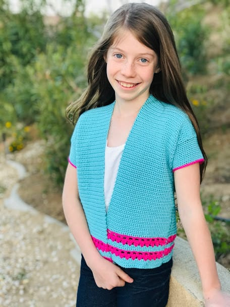 blue and pink cotton candy cardigan made with DK weight Truboo yarn