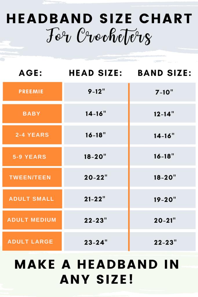 Crochet Headband Size Chart