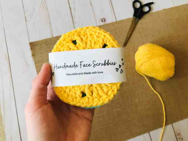 crochet face scrubbies with packaging