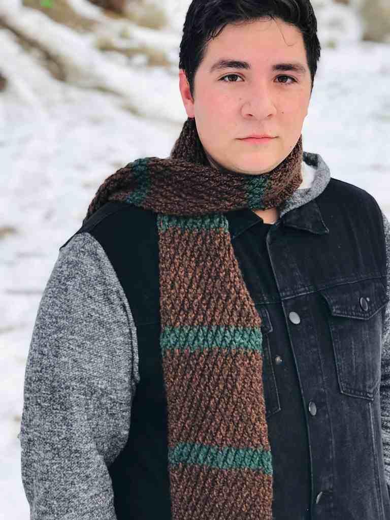 alpine stitch crochet scarf