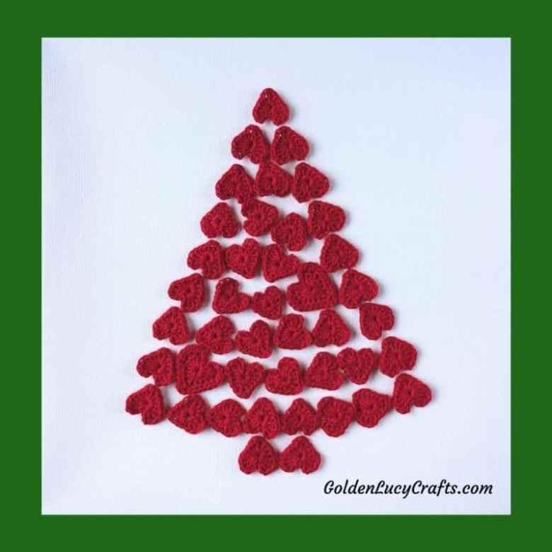 Crochet christmas tree of hearts