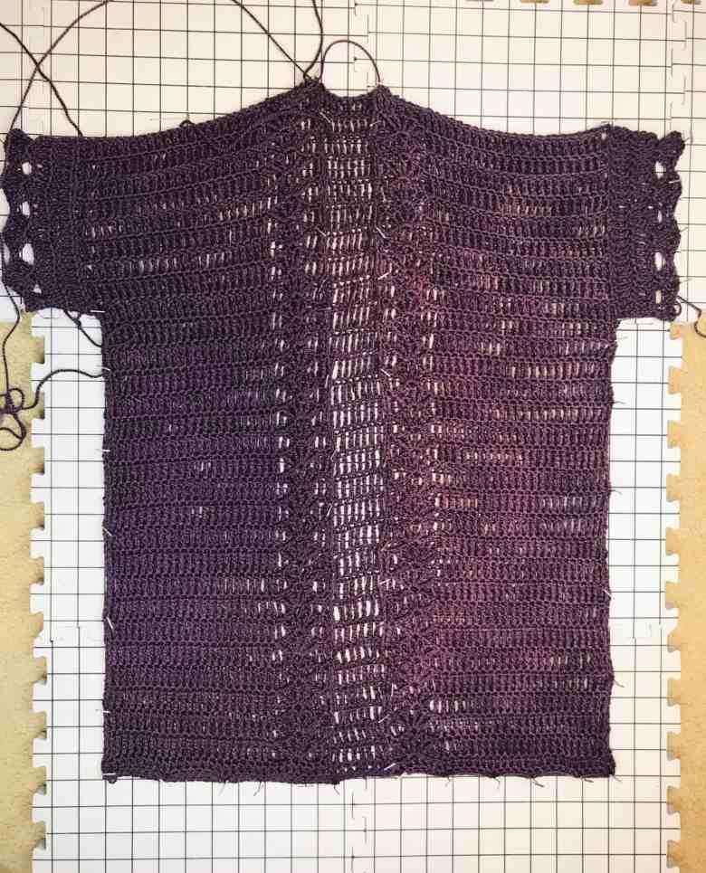 blocking a crochet cardigan