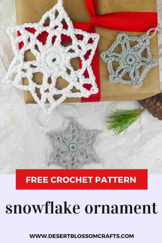 Motif d'ornement de flocon de neige au crochet - gratuit en 3 tailles