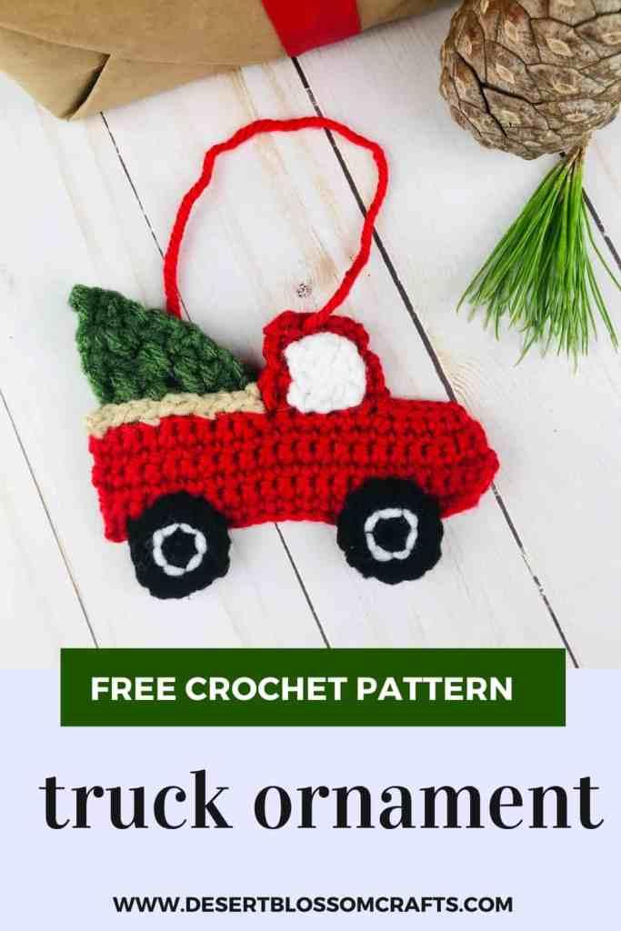 Red Truck Ornament - Free Crochet Pattern