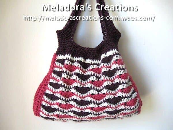 Wave stitch crochet handbag