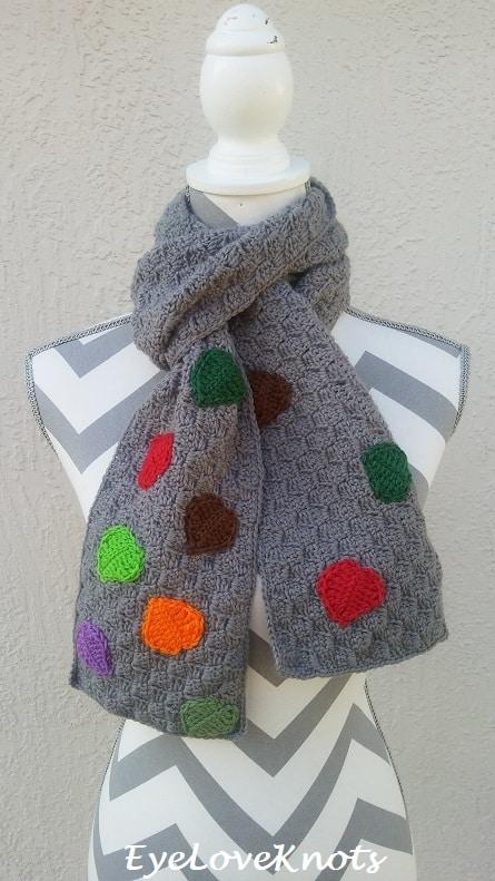 fall leaves crochet scarf