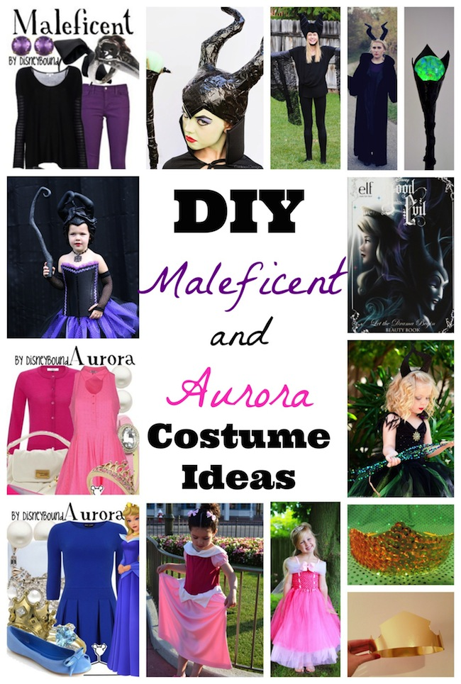 Sleeping Beauty and Maleficent costume DIY ideas including makeup, wings, horns, dress, tutus and homemade outfits perfect for toddlers, kids, women, and teens during Halloween. Plus Princess Aurora and Sleeping Beauty inspired outfits.