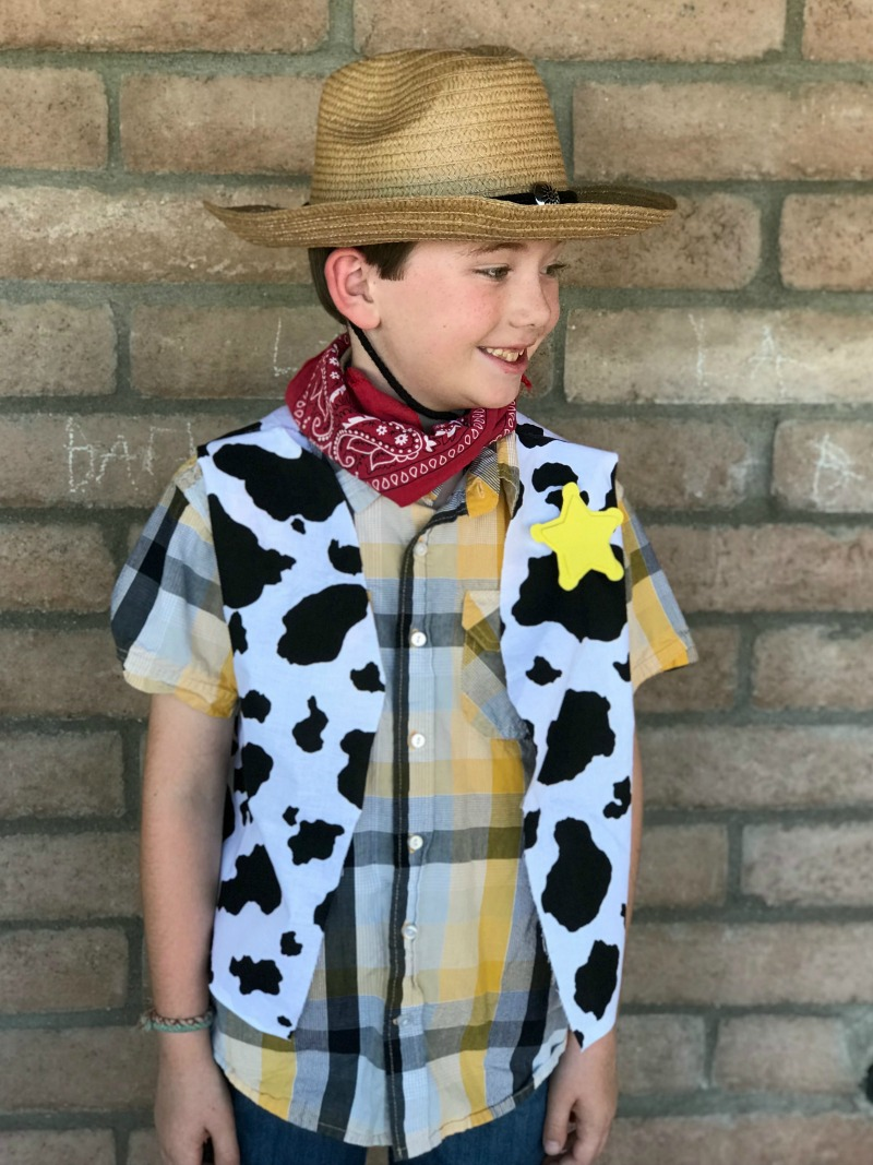 Make a homemade woody's vest for a DIY wood costume for a fun Toy Story themed halloween or disneybound