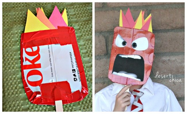 DIY Anger from Inside Out costume mask craft
