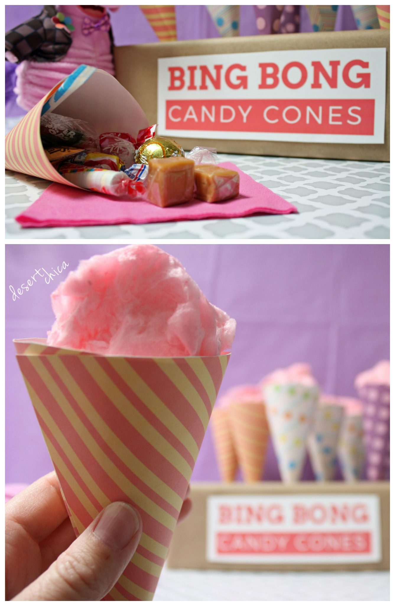 Bing Bong Candy Cones with Cotton Candy and Caramel