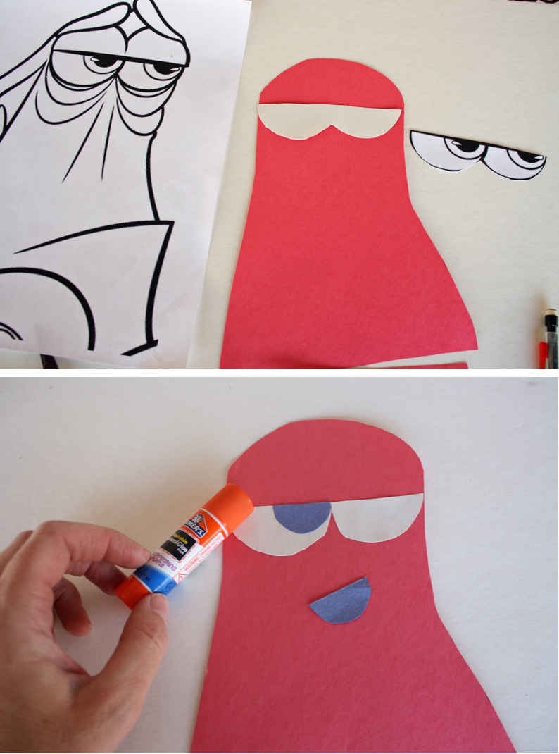 Adding eyes to Hank the Octopus Craft